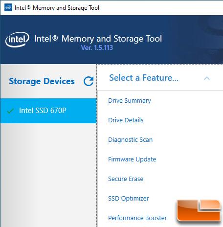 Intel Memory and Storage Tool Menu