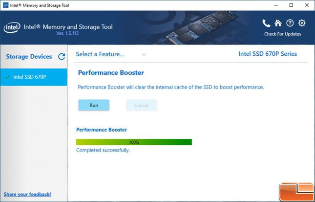 Intel Memory and Storage Tool 670p Performance Boost
