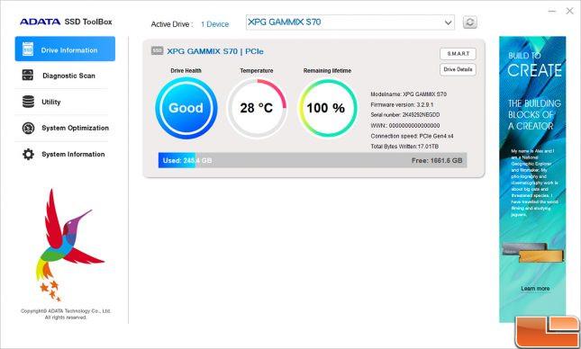 ADATA SSD Toolbox - XPG GAMMIX S70