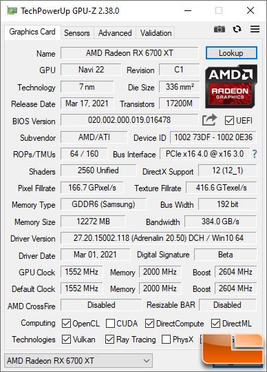 AMD Radeon RX 6700 XT GPU-Z