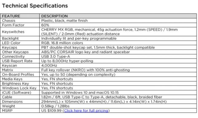 Corsair K65 RGB Mini Keyboard Specificatrions
