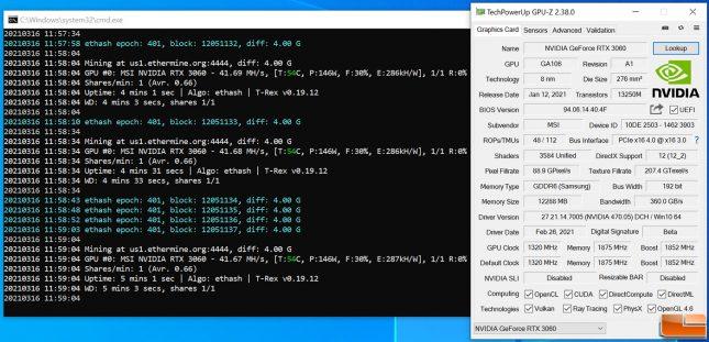 ETH Ethereum Mining on GeForce RTX 3060 After