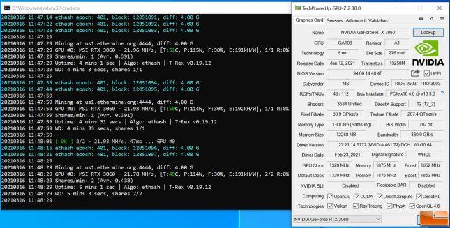 ETH Ethereum Mining on GeForce RTX 3060 Before