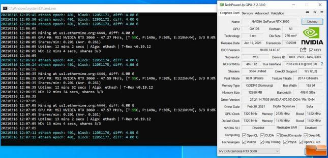 ETH Ethereum Mining on GeForce RTX 3060 - Overclocked Memory +1000MHz