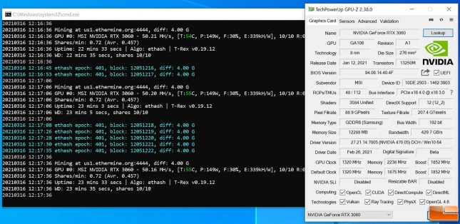ETH Ethereum Mining on GeForce RTX 3060 - Overclocked Memory +1450MHz