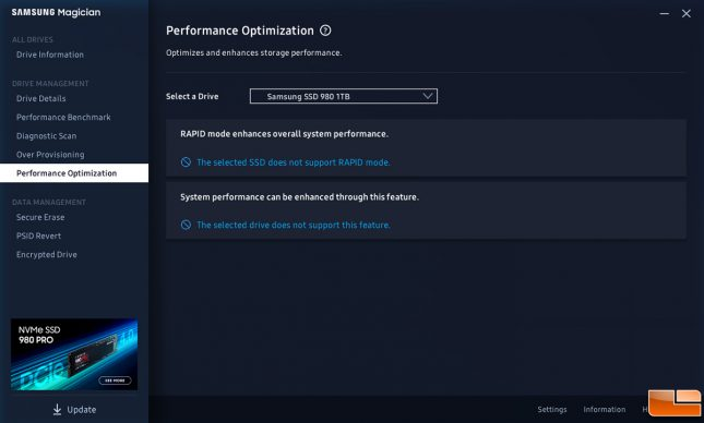 Samsung Magician SSD 980 Performance Optimization