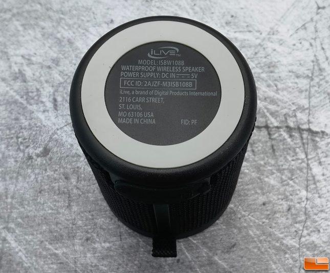 iLive Waterproof Bluetooth-Wireless Speaker ISBW108B Bottom