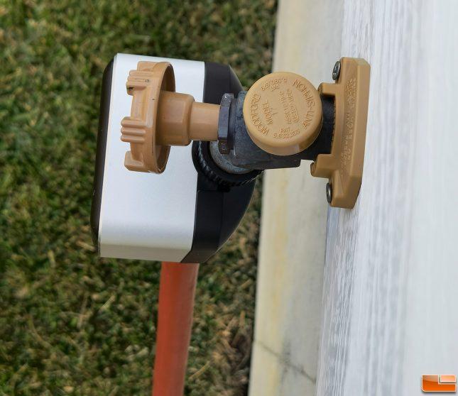 EVE Aqua Smart Water Controller Installed On Hose